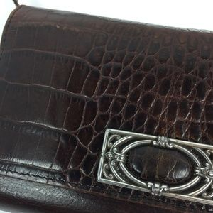 Brighton Large Brown Leather Wallet w/ Strap